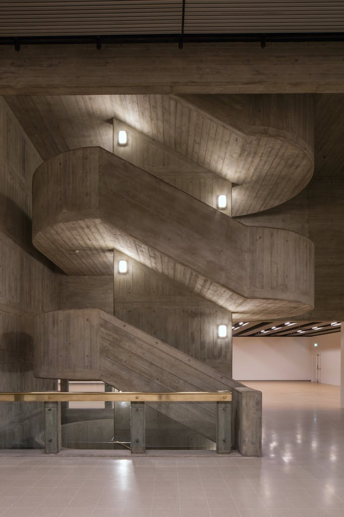 Interior staircase of the Hayward Gallery, London, designed by the GLC Department of Architecture and Civic Design and completed in 1968.