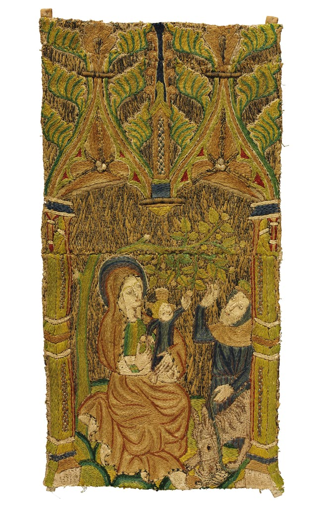 Scene from the life of the Virgin and Child, showing a fruit tree bending overhead (one of six fragments), (1390–1420), English, Victoria and Albert Museum, London