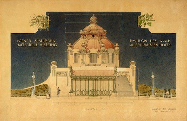 Hofpavillon der Stadtbahn in Vienna-Hietzing (1898), Otto Wagner. Albertina, Wien