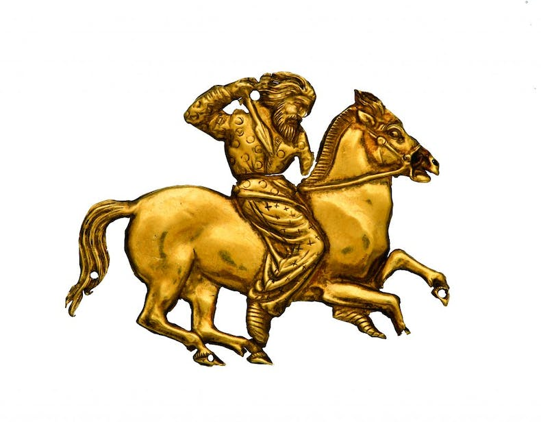 Gold plaque depicting a Scythian rider with a spear in his right hand, (second half of the 4th century BC), Kul' Oba, State Hermitage Museum, St Petersburg,