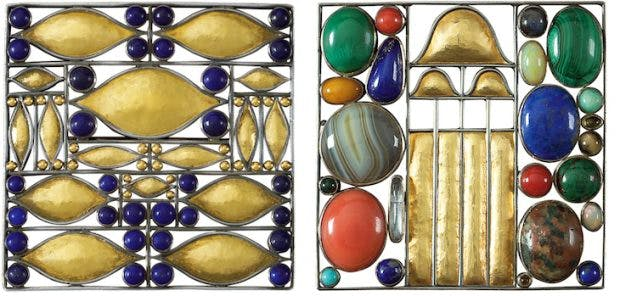 Pair of brooches, 1907, designed by Josef Hoffmann. Courtesy Neue Galerie, New York