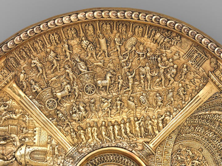 Titus's Roman triumph (detail from the Titus dish from the Aldobrandini Tazze), ca. 1587–99, Netherlandish? Museu Nacional de Arte Antiga, Lisbon.