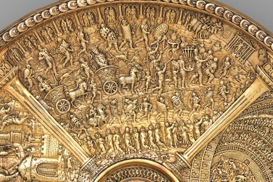 Titus's Roman triumph (detail from the Titus dish from the Aldobrandini Tazze), ca. 1587–99, Netherlandish? Museu Nacional de Arte Antiga, Lisbon.