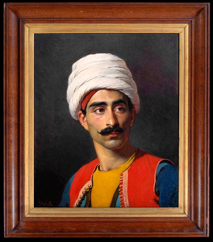 Portrait of Hassan El Berberi, keeper to Mehmet Ali Pasha's giraffe, bust-length, in Ottoman dress (1827), Claude-Marie Dubufe. Louvre, Paris