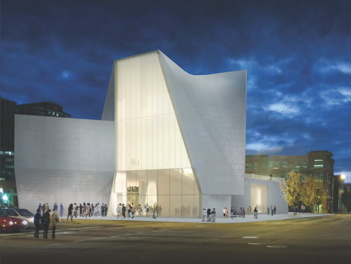 Rendering of the Broad Street entrance of VCU's Institute for Contemporary Art at the Markel Center. © Steven Holl Architects and the Institute for Contemporary Art, VCU