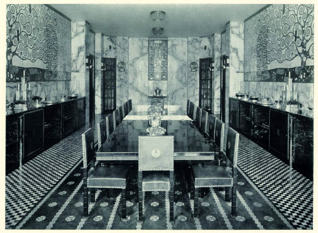Photograph of the dining room of the Palais Stoclet in Brussels, with wall mosaics by Gustav Klimt, published in Moderne Bauformen in 1914, Photo: © MAK, Vienna