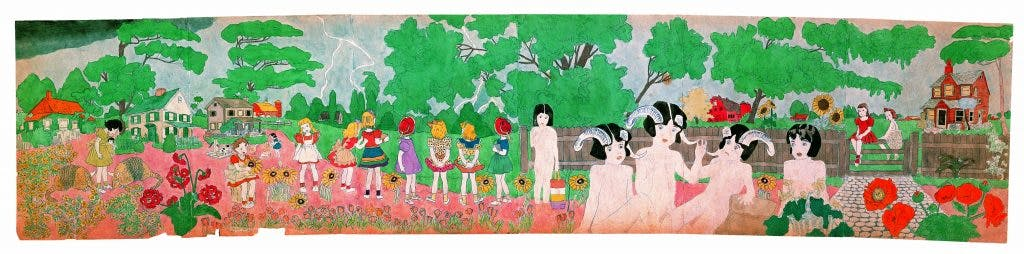 Untitled (Vivian Girls Watching Approaching Storm in Rural Landscape), (mid 20th century), Henry Darger, American Folk Art Museum, New York, Photo: James Prinz; courtesy American Folk Art Museum, New York; © Kiyoko Lerner