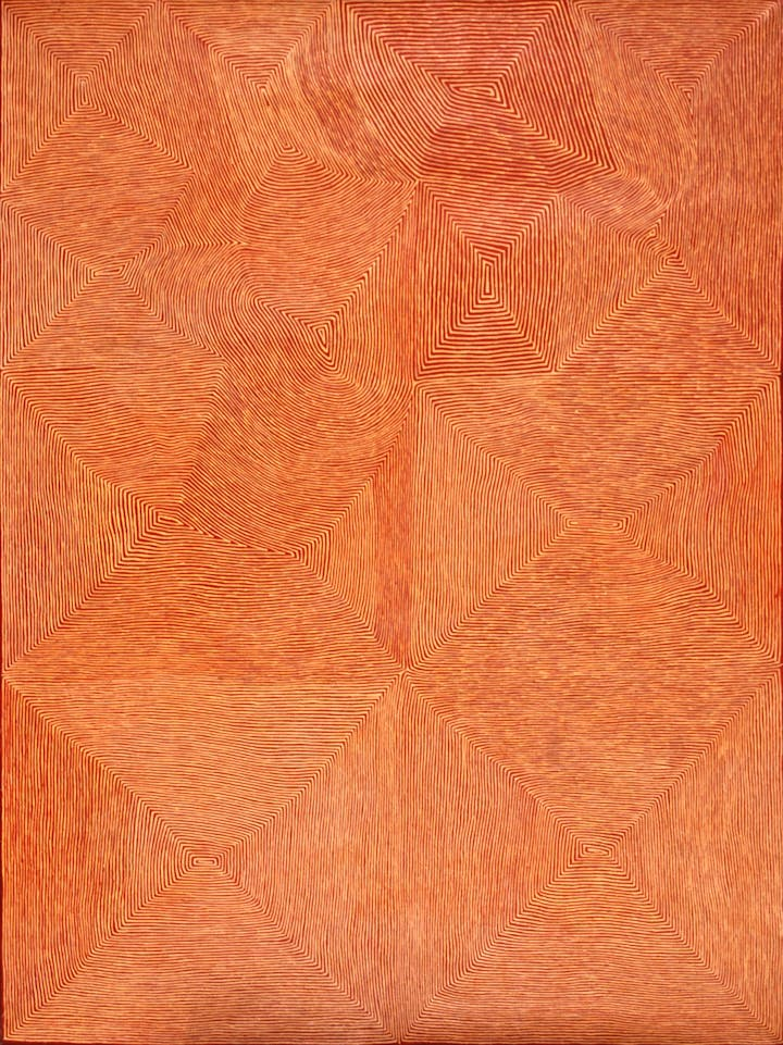 Untitled (2008), George Tjungurrayi. Courtesy the artist; Utopia Art Sydney; and Papunya Tula Artists, Alice Springs; Photograph: Felicity Brading