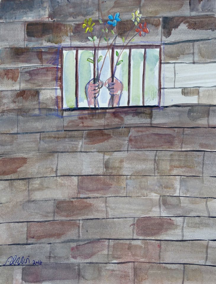 Untitled (Hands Holding Flowers through Bars)(2016), Muhammad Ansi. Courtesy the artist and John Jay College