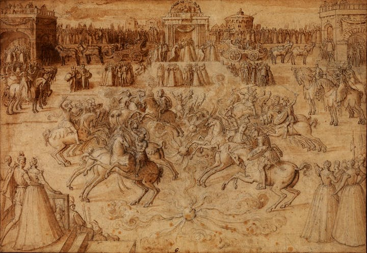 An equestrian game with riders jousting among balls of fire (c. 1575–80), Antoine Caron. Courtesy of The Courtauld Gallery, London