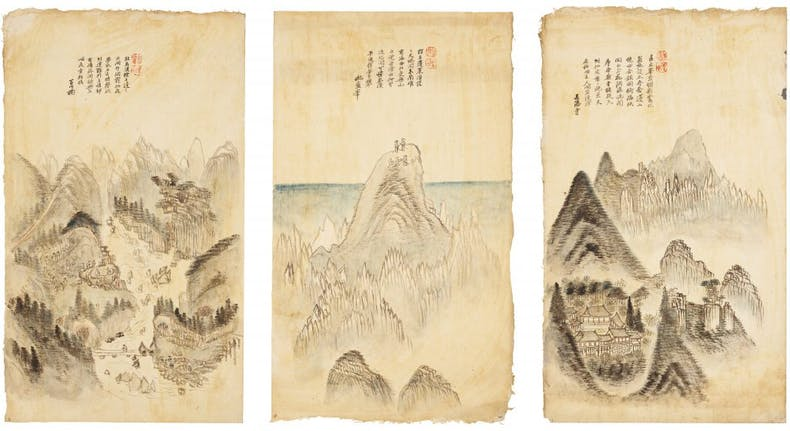 Mount Geumgang, (three panels of eight), (1861), Sin Hakgwon, Amorepacific Museum of Art, Seoul
