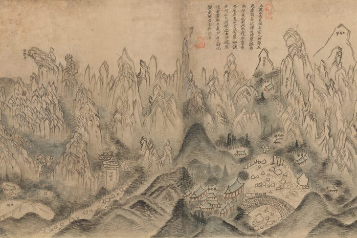 General View of Inner Geumgang, (detail) (mid 19th century) Sin Hakgwon.