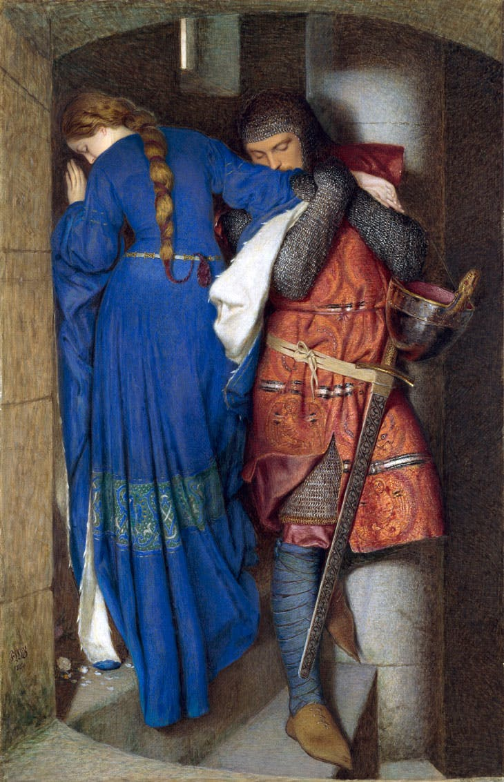 Hellelil and Hildebrand, the Meeting on the Turret Stairs (1864), Frederic William Burton. National Gallery of Ireland, Dublin