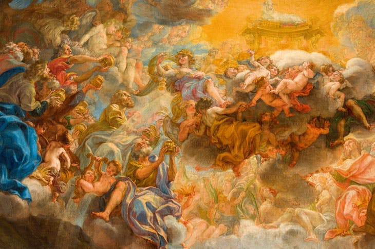 Painted model for the apse fresco of the Gesù (detail; 1690), Giovanni Battista Gaulli. Church of the Gesù, Rome.