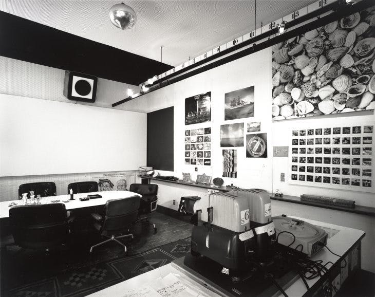 Charles and Ray Eames, Eames Office conference room, 1944–89; San Francisco Museum of Modern Art. Photo: Tom Bonner