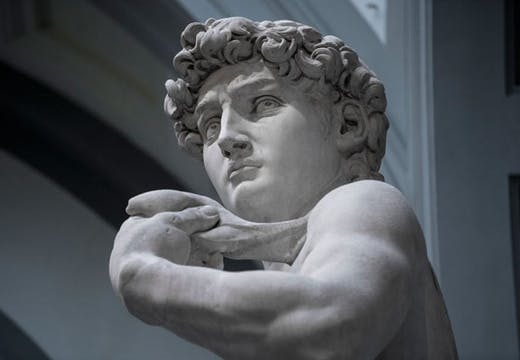 Michelangelo's David at the Galleria dell'Accademia in Florence. Still from Great Art (dir. David Bickerstaff)