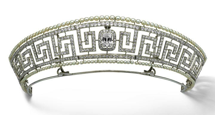 Diamond and pearl tiara, previously owned by Lady Marguerite Allan, and saved from the Lusitania, 1909, Cartier, Paris. Marian Gérard, Cartier Collection © Cartier