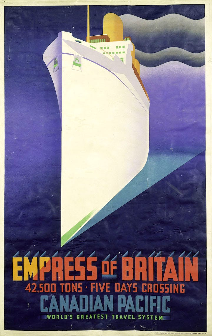 'Empress of Britain' colour lithograph poster for Canadian Pacific Railways, 1920–31, J.R. Tooby. © Victoria and Albert Museum, London