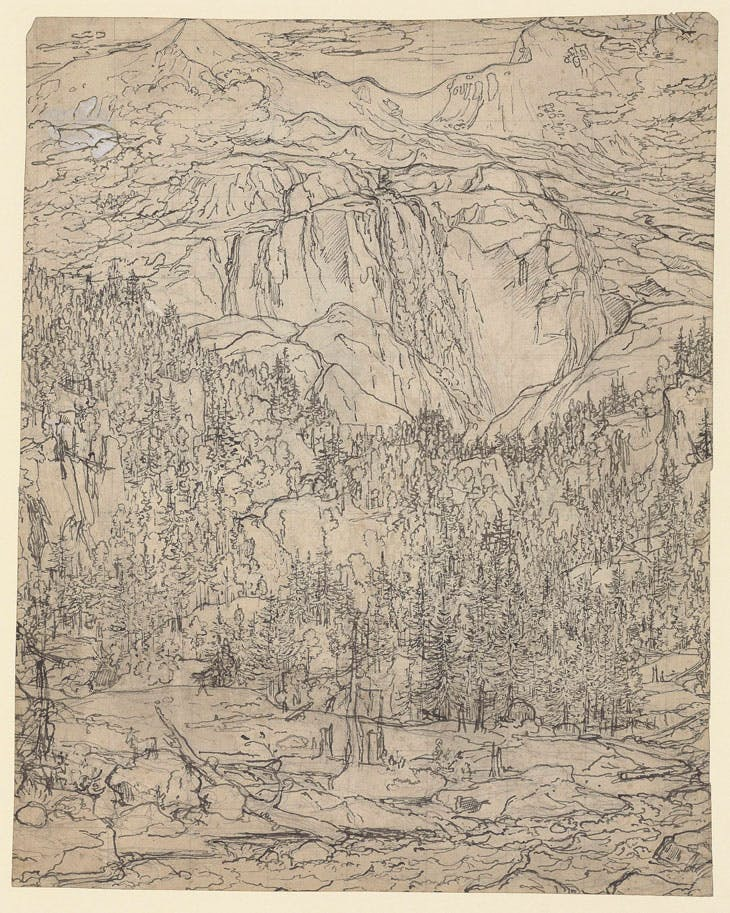 The Schmadribach Waterfall above Lauterbrunnen (c.1793), Joseph Anton Koch. Purchased by the British Museum with the assistance of The Art Fund, the American Friends of the British Museum, the Tavolozza Foundation, Charles Booth-Clibborn, the Wakefield Trust and the Ottley Group