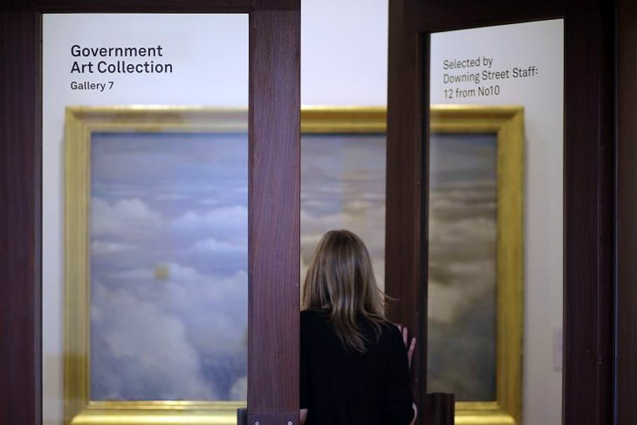 C.R.W Nevinson's Battlefields of Britain, part of the Government Art collection, on display at the Whitechapel Gallery, London, in 2012.