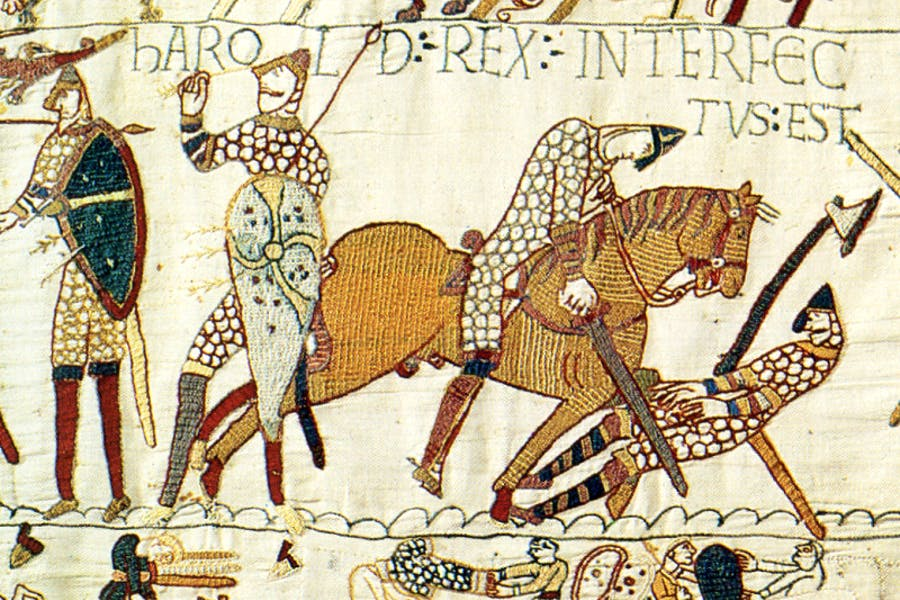 A detail from the Bayeux Tapestry depicting the death of King Harold