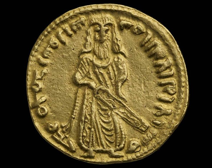 Standing Caliph Dinar, 697, probably minted at Damascus. Courtesy of The Ashmolean, Oxford