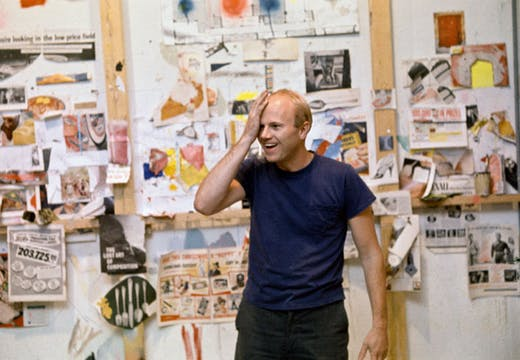 James Rosenquist in his studio with source materials, 1966