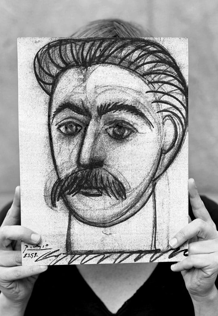 Stalin by Picasso or Portrait of Woman with Moustache Façade-banner (2008), Lene Berg. Courtesy of the artist