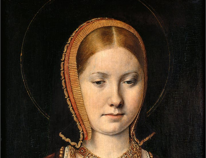 Mary Rose Tudor (1496–1533), Sister of Henry VIII of England (detail; c. 1514), Michel Sittow. Courtesy of Kunsthistorisches Museum Vienna
