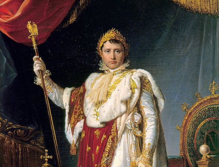 Portrait of Napoleon, Emperor of the French, in Ceremonial Robes (detail; 1805), François-Pascal-Simon Gérard. Château de Fontainebleau, Photo © RMN-Grand Palais / Art Resource, NY