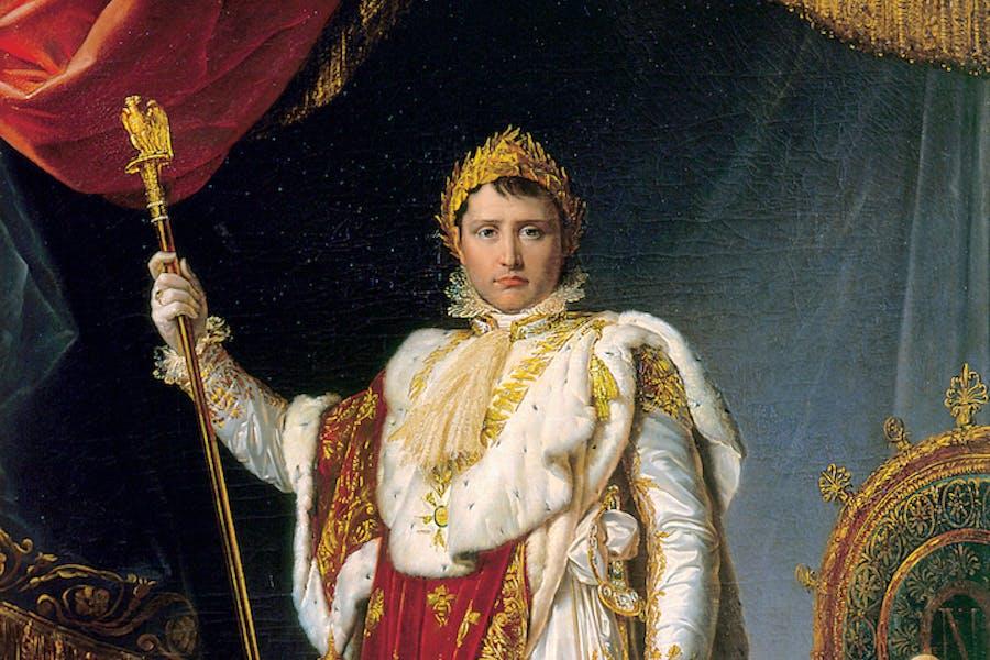 Portrait of Napoleon, Emperor of the French, in Ceremonial Robes (detail; 1805), François-Pascal-Simon Gérard. Château de Fontainebleau, Photo © RMN-Grand Palais / Art Resource, NY