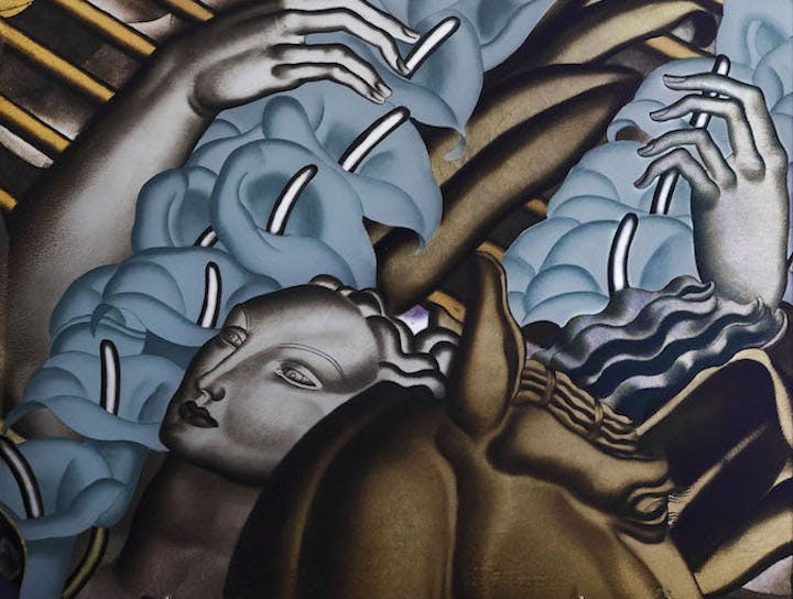 Detail of a panel from The Rape of Europa for the first-class grand salon on-board the Normandie made in verre églomisé, 1934, Jean Dupas, made by Jacques–Charles Champigneulle. © Miottel Museum, Berkeley, California. Image courtesy Peabody Essex Museum, Salem, Massachusetts