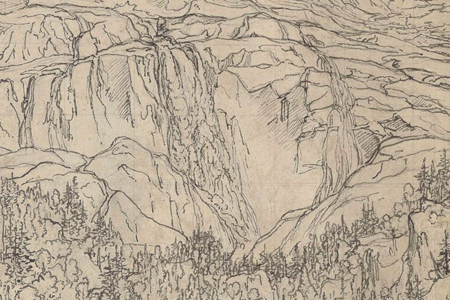 The Schmadribach Waterfall above Lauterbrunnen (detail; c.1793), Joseph Anton Koch. Purchased by the British Museum with the assistance of The Art Fund, the American Friends of the British Museum, the Tavolozza Foundation, Charles Booth-Clibborn, the Wakefield Trust and the Ottley Group
