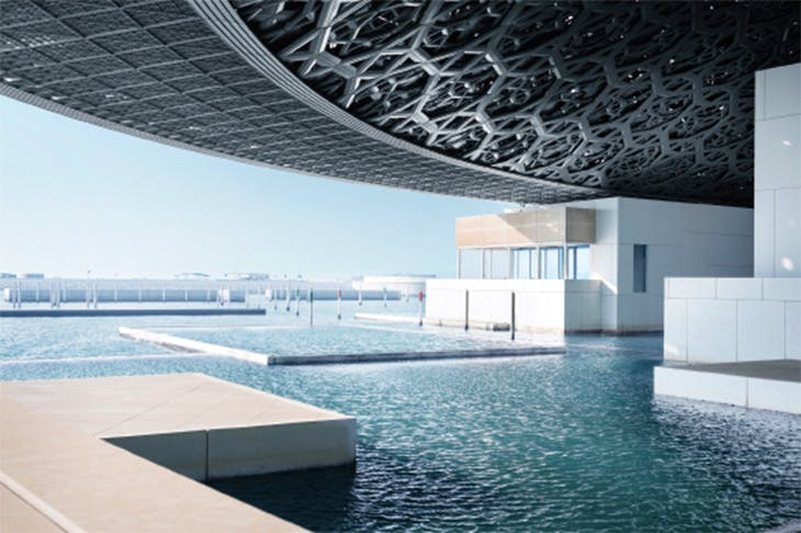 View from the Louvre Abu Dhabi, designed by Ateliers Jean Nouvel and completed in 2017, photo: Mohamed Somji; © Louvre Abu Dhabi