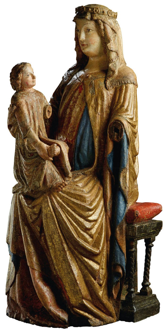 Madonna Enthroned with Child (c. 1320–30), attrib. to the Master of the Aufkirchen Saint Peter Enthroned. De Backker Medieval Art (€285,000)