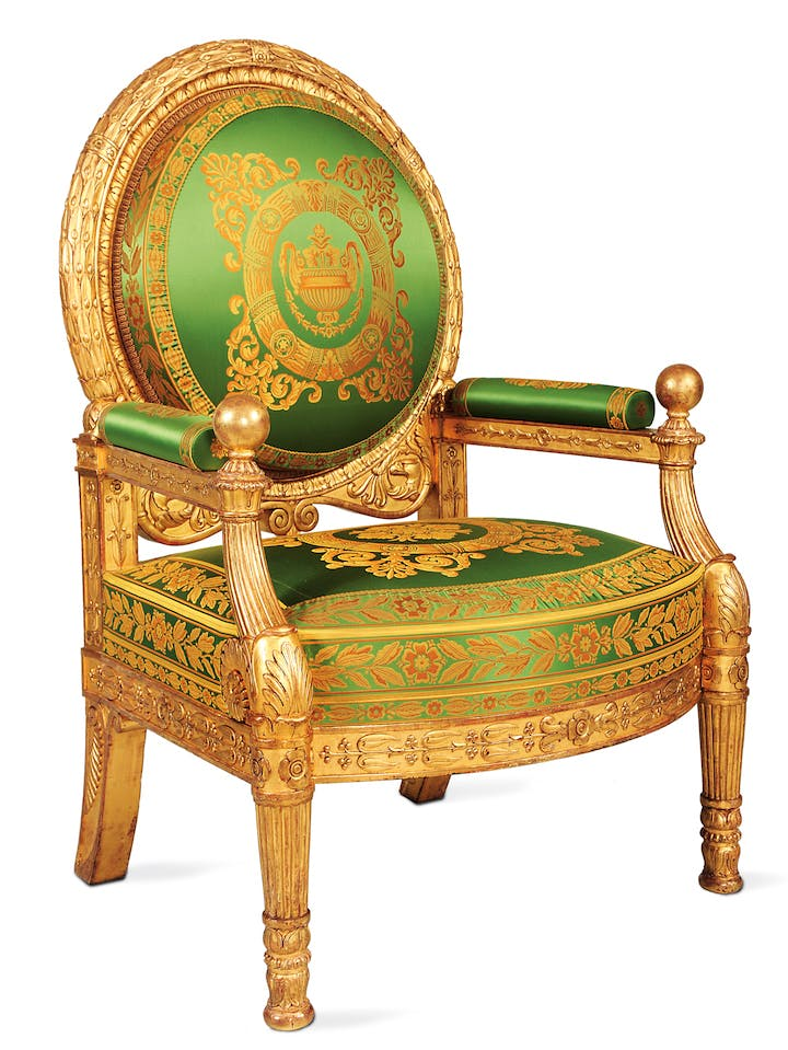 Presentation armchair for the Grand Salon of the King of Rome's apartment at the Tuileries, intended for the Emperor and Empress, ca. 1804–15, Pierre-Antoine Bellangé. Photo Collection du Mobilier national © Isabelle Bideau