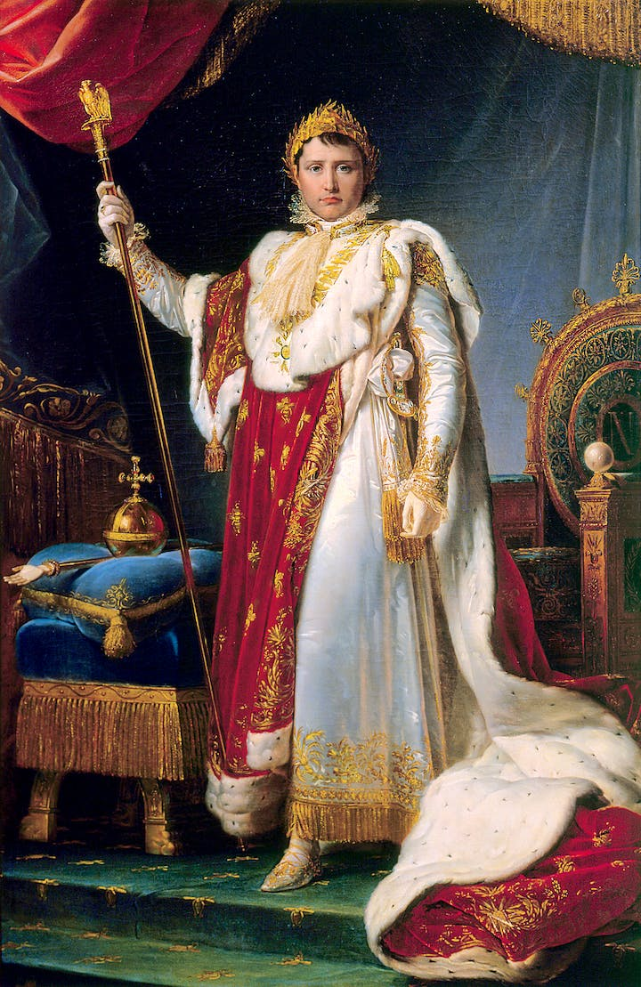 Portrait of Napoleon, Emperor of the French, in Ceremonial Robes (1805), François-Pascal-Simon Gérard. Château de Fontainebleau, Photo © RMN-Grand Palais / Art Resource, NY