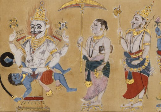 Detail of a scroll drawing showing the ten avatars of Vishnu, c. 1771–79, Andhra Pradesh, India. © Victoria and Albert Museum