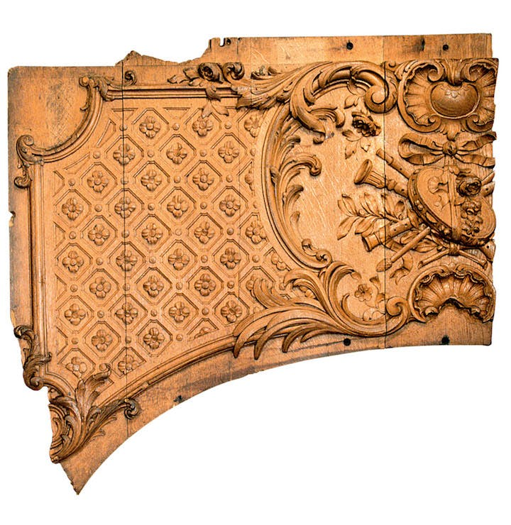 Wooden panel fragment from an overdoor in the first-class lounge on the Titanic, c. 1911. © Maritime Museum of the Atlantic, Halifax, Nova Scotia, Canada