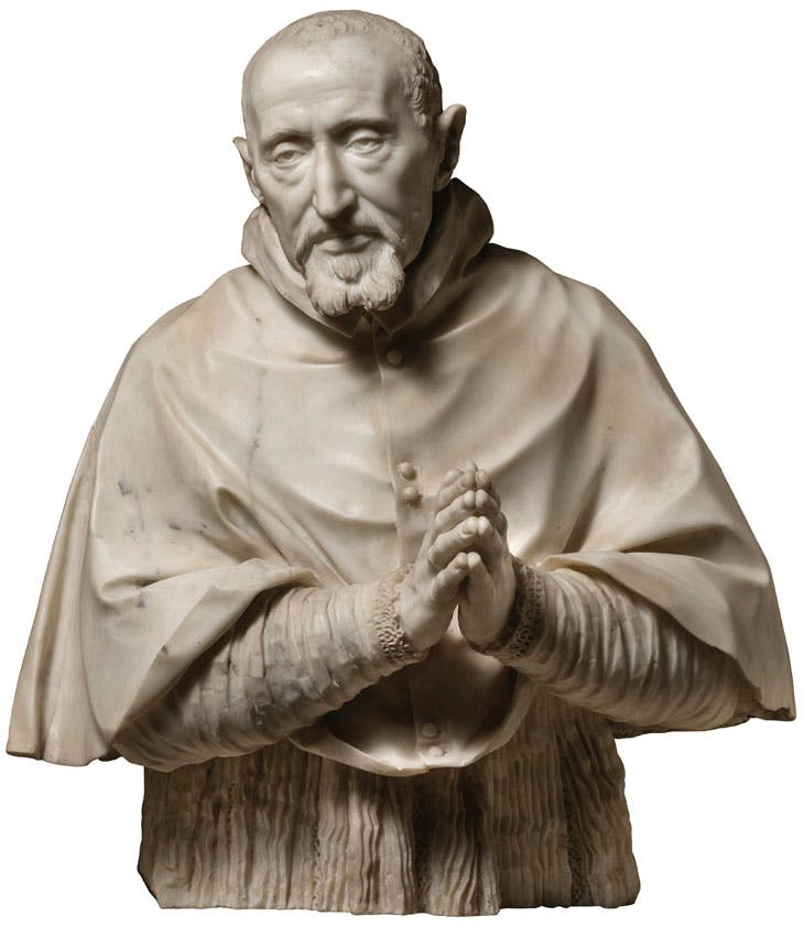 Bust of Cardinal Roberto Bellarmino (1621–24), Gian Lorenzo Bernini. Church of the Gesù, Rome.