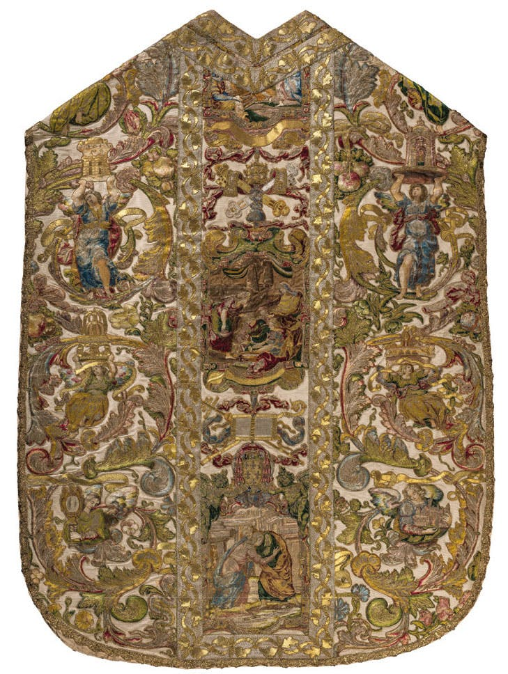Chasuble of Cardinal Alessandro Farnese (c. 1575–89). Church of the Gesù, Rome.