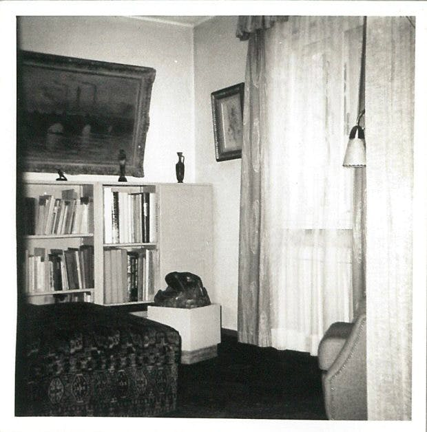 Undated photograph of Cornelius Gurlitt's house in Salzburg, showing 'Waterloo Bridge' (1903) by Claude Monet, 'Still Life with Glass and Fruit' (1909) by Pablo Picasso, and 'Danaïde' (1885) by Auguste Rodin.