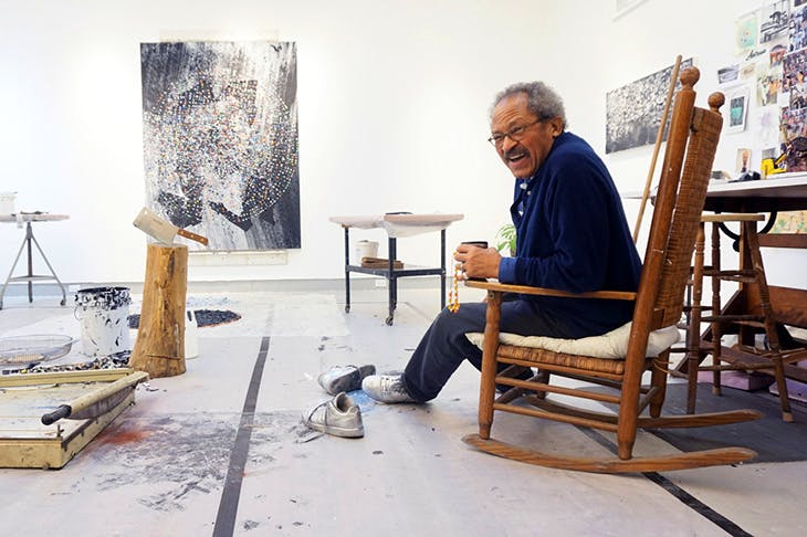 Jack Whitten photographed in his studio in 2015.