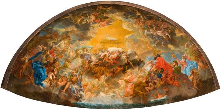 Painted model for the apse fresco of the Gesù (1690), Giovanni Battista Gaulli. Church of the Gesù, Rome.