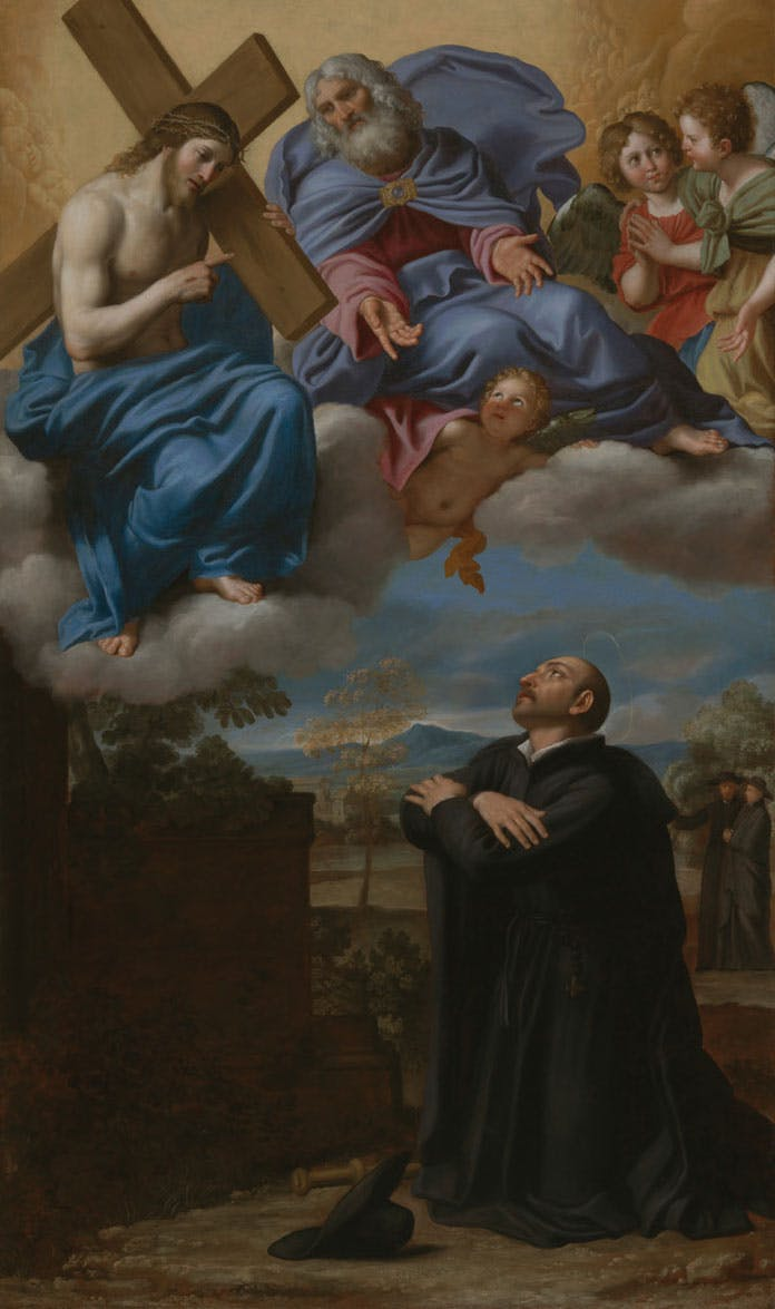 Saint Ignatius of Loyola's Vision of Christ and God the Father at La Storta (c. 1622), Domenico Zampieri, called Domenichino. Los Angeles County Museum of Art