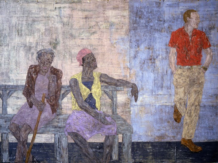 Two Black Women and a White Man (1986), Leon Golub.