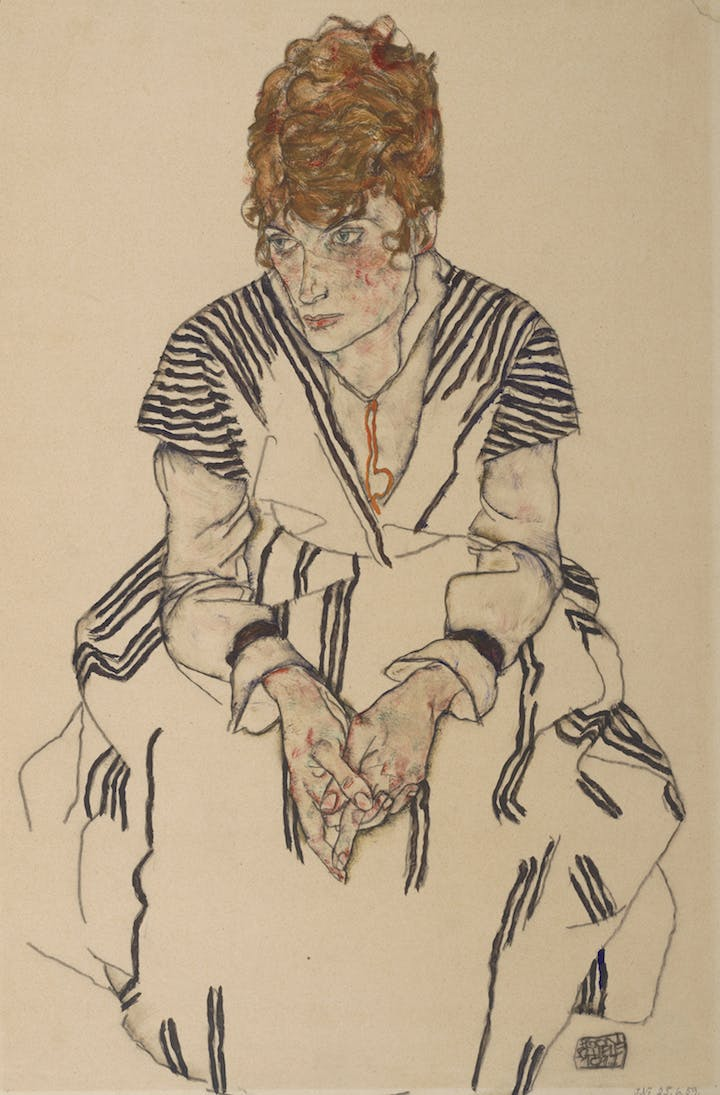 Portrait of the Artist's Sister-in-law Adele Harms (1917), Egon Schiele. Courtesy of Albertina, Vienna and Museum of Fine Arts, Boston