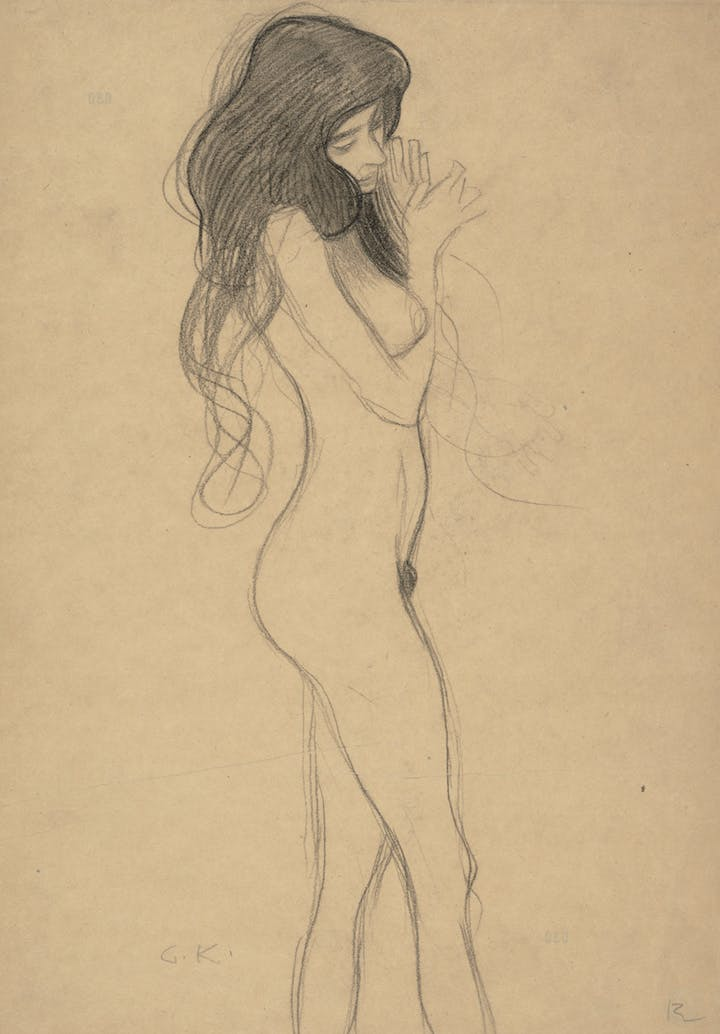 "Standing Female Nude (Study for the Beethoven Frieze: ""The Three Gorgons"") (1901), Gustav Klimt. Courtesy of Albertina, Vienna and Museum of Fine Arts, Boston"