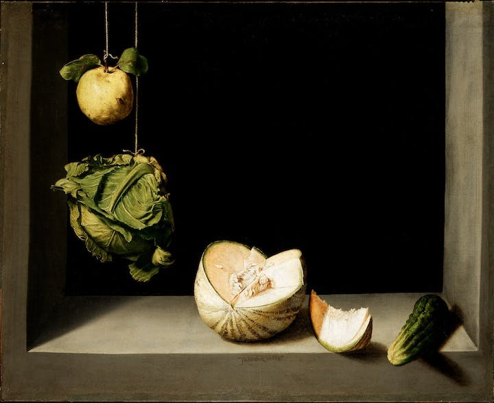 Quince, Cabbage, Melon and Cucumber (ca. 1602), Juan Sánchez Cotán. © The San Diego Museum of Art