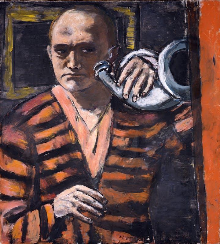 Self-Portrait with Horn (1938), Max Beckmann. © 2018 Artists Rights Society (ARS), New York / VG Bild-Kunst, Bonn